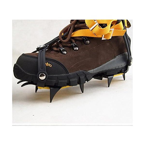 Pinchos para zapatos de nieve, antideslizantes, tipo de correa, Crampons, profesional, para escalada, cinturón de esquí, alta altitud por debajo de los 6 000 pies, para senderismo, nieve, pinchos de hielo, agarres, crampones, limpia, 10 dientes, aleación de manganeso (para zapatos de 36 a 45 talla de la UE, naranja, paquete de 2) 4