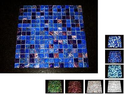 1 Netz Glasmosaik 4 mm Blau Gold von Mosaikdiscount24 bei TapetenShop