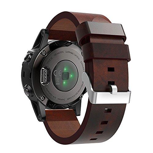 AMhomely Für Garmin Fenix 5S Armband, Weiche Echtes Leder Uhrenarmband Schnellverschluss Einfach Fit Rot Braun Armband Strap Ersatz für Garmin Fenix 5S