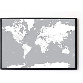 Black and White World Map Unique Design Poster Print Traveler ...