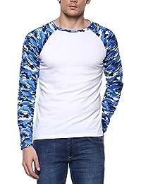 Urbano Fashion Men's Blue Camouflage Round Neck Full Sleeve T-Shirt