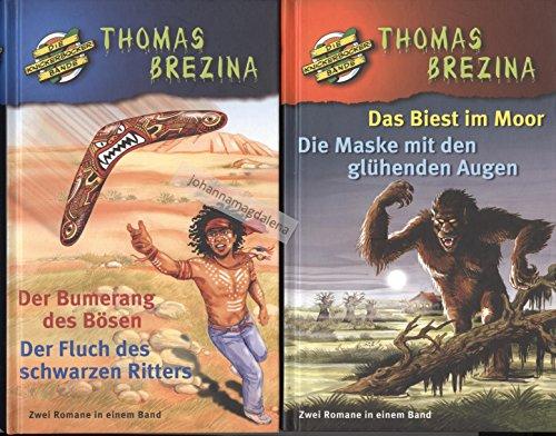 4 Bd. Thomas Brezina (2 Bücher):1. Das Biest im Moor + Die Maske mit den glühenden Augen 2. Der Bumerang des Bösen + Der Fluch des schwarzen Ritters (die Knickerbocker-Bande)