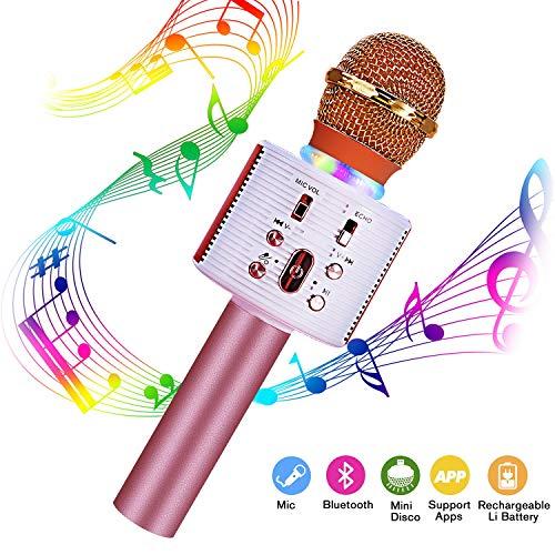 Karaoke Mikrofon Kinder, FishOaky 4-in-1 Kabellos tragbarer Bluetooth Karaoke-Player mit Lautsprecher für Party, Podcast, Familie, kompatibel mit Android, PC(Gold)