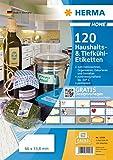 Herma 12906 Home Haushalts- und Tiefkühletiketten (66 x 33,8 mm auf DIN A4 Papier matt) 120 Aufkleber auf 5 Blatt, weiß, bedruckbar, selbstklebend