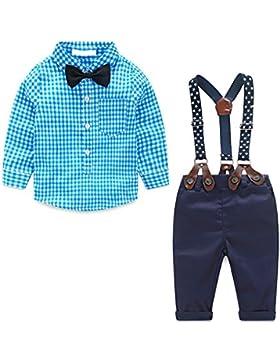 MissChild Baby Junge Bekleidungsset Formal Gentleman Plaid Shirt + Hose mit Hosenträger Ausstattung