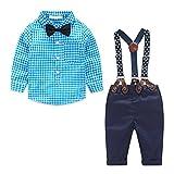 MissChild Baby Junge Bekleidungsset Formal Gentleman Plaid Shirt + Hose mit Hosenträger Ausstattung Blau Label 70