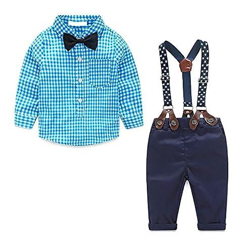 MissChild Baby Boy Plaid Shirt + Suspender Pants with Bow Tie£¬Toddler Jumpsuit Outfits Clothes Blue 90