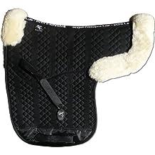 ENGEL GERMANY Sudadero para caballo numnah piel de cordero (acolchar) - tela de algodón negro piel natural (Sadek 2 Aufpolster) Combinada / Salto