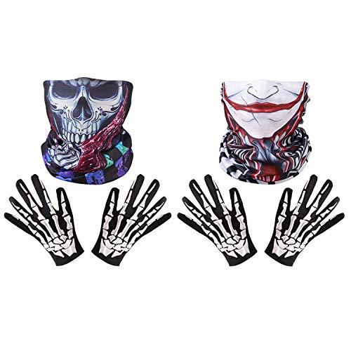 Fansport 2 Paare Halloween Handschuhe Kreative Skelett Neuheit KostüM Handschuhe Mit 2 Bandana - Paare Kostüm Kreativ