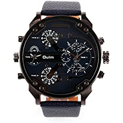 Pixnor Men's Boys Four Time Display Quartz Wrist Watch with PU Band (Black)