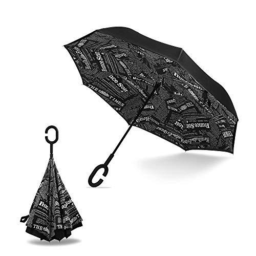 manfâ cortavientos Reverse plegable doble capa paraguas invertido con forma de C mango, Self Standing, dentro y por fuera, mango libre para mujeres y hombres variedad colores, black newspaper