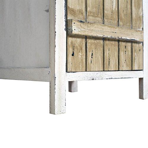 Rebecca Mobili Armadietto Shabby, cassettiera Camera da Letto, 2 cassetti 1 Anta, Stile Shabby, Legno paulonia, Bianco Beige - Misure: 84 x 37 x 31 cm (HxLxP) - Art. RE4415 - 7