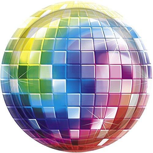falksson 70er Disco Pappteller Discokugel Party-Deko 8 Stück bunt 18cm Einheitsgröße