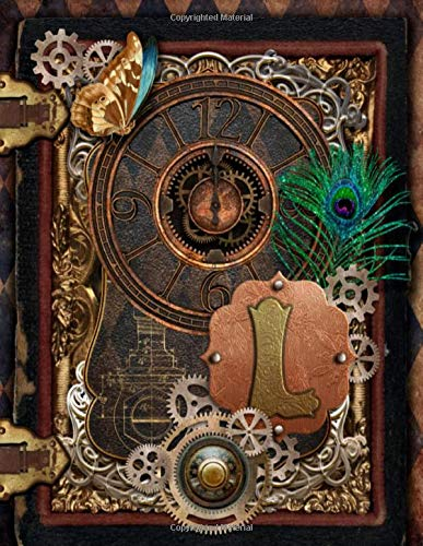 L: Beautiful Monogram Letter L Steampunk Journal Vintage Clock Peacock Feather College Ruled Lined...