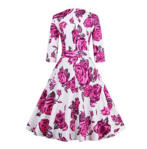 E-Girl M128918D Robe de bal Vintage pin-up 50's Rockabilly robe de soirée cocktail,S-XXXXL Rose