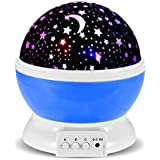 GRDE ZJB00186-XKDBlue-Gm, GRDE Baby Presents Night Lights Rotating Star Projector Romantic Bedside Lamps Projection with 3 Modes Cosmos Star Sky Moon Lamp Projector for Kids Baby Bedroom, Christmas Gifts (Blue) (Lighting)