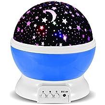 Lampada Proiettore Stelle Luna, GRDE Luce di Illuminazione Notturna Rotante per Bambini/Camera da Letto, 3 Modalità di Luce, Powered by Batteria o Cavo USB, Ideale per Regali di Compleanno e Natale