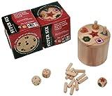 BestSaller 3020 SUPER SIX Holz, beidseitig bespielbar – auch für Kinder, 36 Spielstäbchen & 3 Würfel, natur (1 Stück)