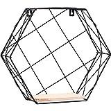 Estante de exhibición montado en la pared, rejilla hexagonal del hierro de la pared figura geométrica decoración del hogar para el dormitorio de la sala cestillo organizador de ducha para casa