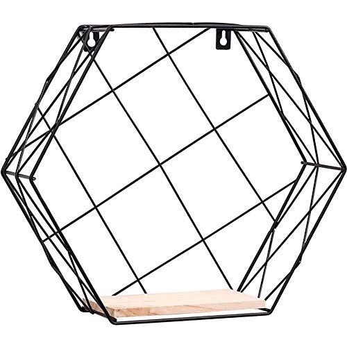 Surenhap metallo esagonale in legno cestino da parete in ferro e legno mensola in ferro mensola da giardino per soggiorno cafe restaurant decorazione size m