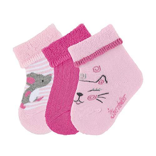 Sterntaler Söckchen, 3er Pack, Katzen-Motiv, Alter: 0-4 Monate, Schuhgröße: 13-14, Rosa