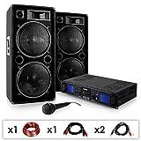 DJ-27 PA-Komplett-SET/lautstarkes Musikanlage mit 2000 Watt PA-Boxen & Verstärker inkl. Kabel-Set + Mikrofon (für bis zu 250 Personen, USB/SD-Slot für MP3-Datenträger,4 x 30cm Subwoofer)