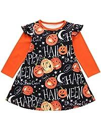 Conquro Vestido Estampado de Calabaza de Halloween de Manga Larga para niños Vestido de Princesa con Estampado de Halloween de Dibujos Animados de Manga Larga para bebés y niños pequeños 0-4 años