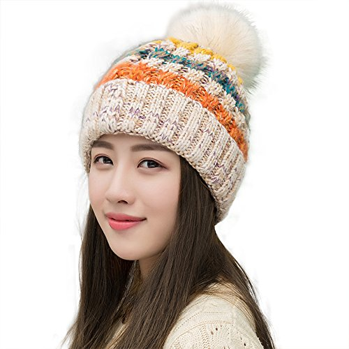 bfd03bb29d59ef YPS Trendy Colorful Knitted Crochet Hat Fleece Lined Cable Faux Fur Pom Pom  Beanie Winter Warm Slouchy Bobble Cap Multi Color - Buy Online in Oman.