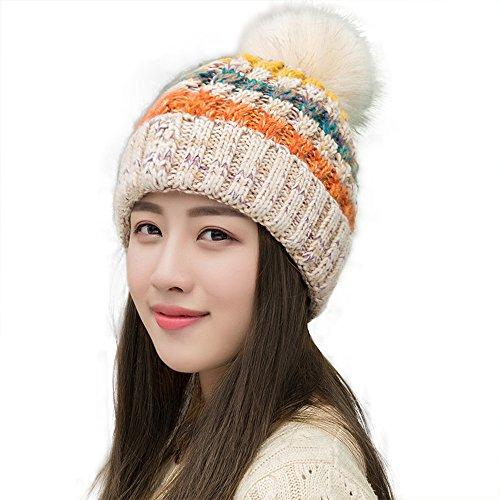 Ypser Winter-Slouchy-Strickmütze für Damen aus Kunstpelz-Pom-Beanie-Mütze