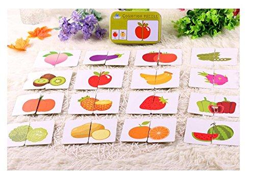 Baby Infant 32 stücke Flash Card Puzzle kognitiven puzzle Form Passenden Kognitiven Lernen Früherziehung Karte Spielzeug (Obst & gemüse) (Baby-flash-karten Worte)