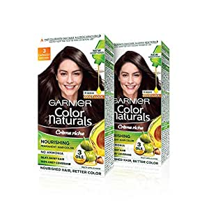 Garnier Color Naturals Permanent Hair Color, Shade 3 - Darkest Brown, 70ml + 60g (Pack Of 2), 361.2 g (140 ml + 120 g)