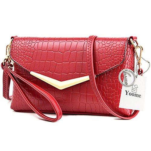 Yoome Flap Bag Crocodile Pattern Große Kapazität Umschlag Taschen Für Frauen Mädchen Taschen Für Teens - Creme Rot