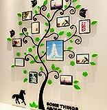 Bellabrunnen 3D Kristall Baum Wand Kunst Aufkleber mit Foto-Rahmen Schlafzimmer Dekoration- Grün-XL