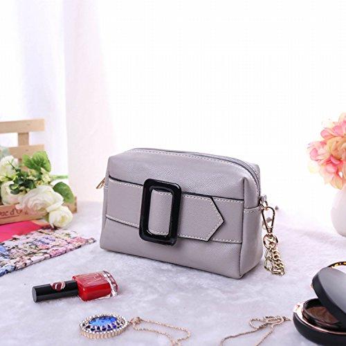 Einfache Mini Quadratische Tasche Schulter Diagonale Pakettasche Messenger Bag hellgrau