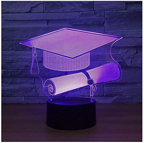 Nachtlicht NachttischLampee Touch Switch Doctor Cap 3D Light Led Nightlight Lampe 7 Color Changing Usb Table Desk Lampe As Memorial Gift For Graduate Student -