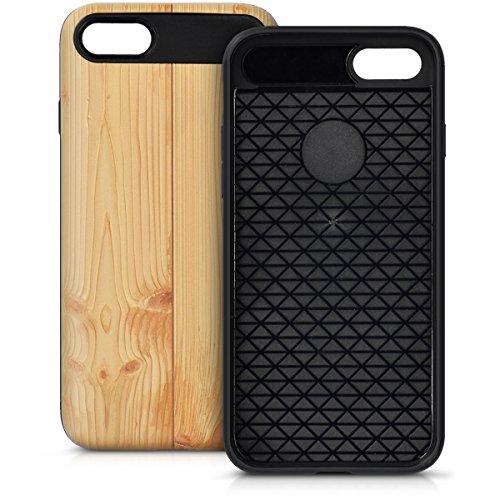 kwmobile Housse pour Apple iPhone 7 / 8 - pochette en chrome housse rigide pour le verso du téléphone rouge foncé doré 3D Bois marron clair
