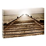 Steg | V1720476 | Bilder auf Leinwand | Wandbild im XXL Format | Kunstdruck in 120 cm x 80 cm | Bild Steg Wasser Meer See Urlaub