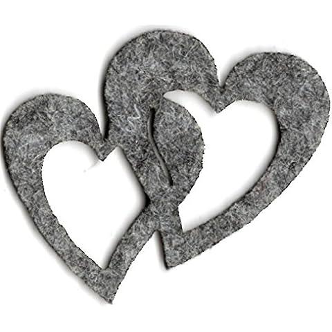 Petra S Kit creativo News a hedf5704–87strame decorazione, 50x doppio cuore 40mm, feltro/grigio