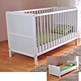 White Solid Wood Baby Cot Bed with Deluxe Foam Mattress