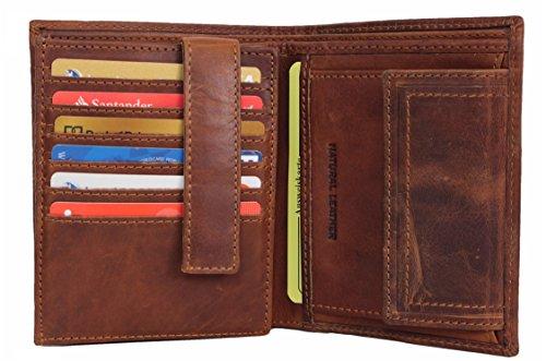 Geldbörse Herren Leder mit RFID Schutz geräumiges Portemonnaie Brieftasche Portmonee vintage Geldbeutel mit Münzfach Wallet in Geschenk-box Echt-Leder Kartenetui braun von Corno d´Oro 30006NC