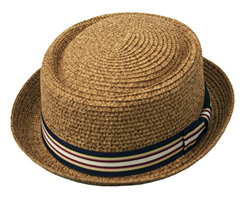 9f11bd674c Epoch hats Men's Fancy Summer Straw Pork Pie Derby Fedora Upturn Brim Hat -  Beige -