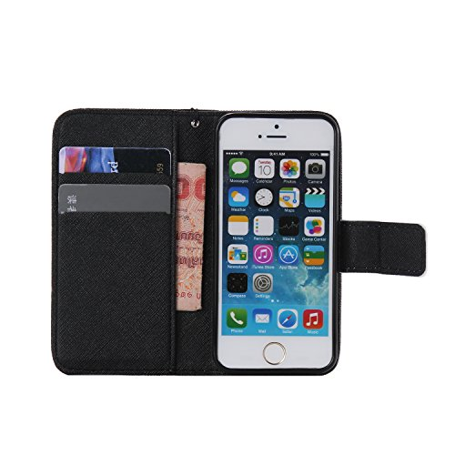 Apple iPhone 5 iPhone 5S iphone SE Custodia in pelle, Cover per iPhone 5/5S, Ekakashop Custodia PU Cuoio Caso Con Carte di Credito Slot Protettiva in Pelle Flip Folio Leather Book Wallet cordicella di Chainsaw Orso