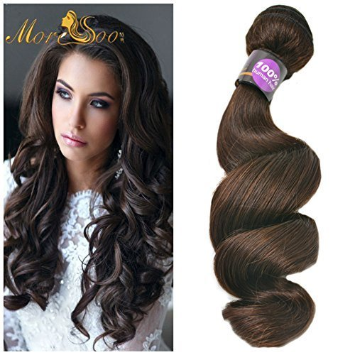 Bundles Extensions In Hair (Moresoo 16Zoll 40cm Sew in Hair Weft Menschliches Haar Extensions #2 Darkest Brown Colored Hair Bundles Hair Weft Loose Wave Menschliches Haar 100G Weight)