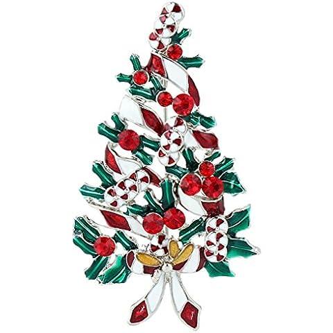Ever Faith Regalo di Natale nastro spilla rossa austriaca di cristallo silver-tone N04525-1 - Bambino Epoca Spilla Gioiello