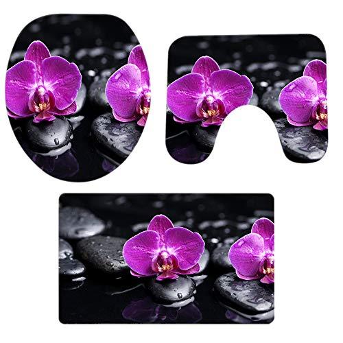 Makefortune 2019 Badteppich Set 3 teilig, Schöne Aussicht Blumen Muster Drucken Rutschfest Badematten Weiches Badvorleger Badezimmer Küche Teppich Osternei Teppichboden Doormats