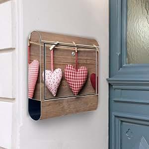 Banjado Boîte aux lettres en acier inoxydable avec motifs cœurs 38x42x11cm