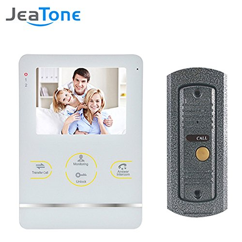 """Jeatone 4"""" LCD Monitor Wired Video Intercom Doorbell System Video Door Phone Bell Kit with IR LED for Good Night Vision"""