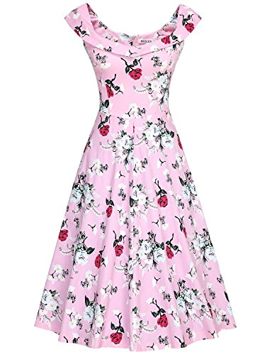 MUXXN Damen 1950er Boot-Ausschnitt Muster Hanhnentritt Party Swing Kleid(M, Pink Rose) (Seide Party-kleid)