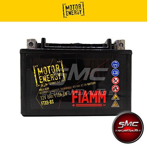 BATTERIA MOTO FIAMM MOTOR ENERGY FTX9-BS = YTX9-BS 12V 8Ah AGM CON ACIDO INCLUSO