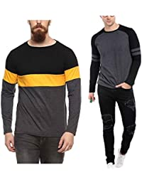 Veirdo Printed Full Sleeve Black/Yellow Round Neck Men's Cotton Tshirt-Combo tshirt-pack of 2